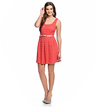 Guess Sleeveless Fit and Flare Lace Dress with Belt