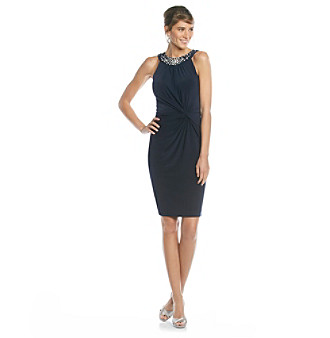 Evan-Picone Embellished Halter Jersey Knit Dress