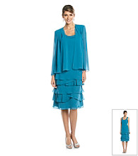 S.L. Fashions Pleat Tiered Jacket Dress
