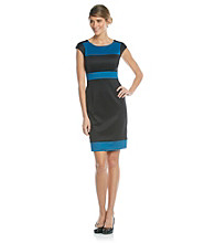 London Times Petites' Colorblock Scuba Dress
