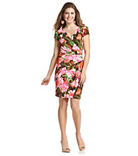 London Times® Petites' Floral Print Shutter Dress