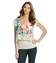 AGB® Floral Flutter Sleeve Tier Top