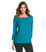 AGB® Solid Cable Front Sweater