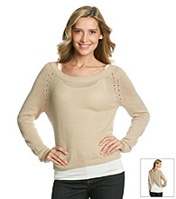 AGB® Crossover Back Boatneck Sweater