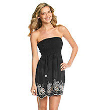 Raviya Strapless Short Smocked Top Coverup Dress with Embroidery