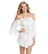 Raviya Cold Shoulder Crochet Neck Tunic Top