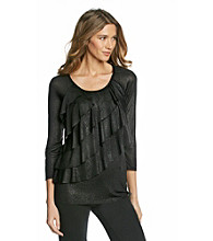 Notations® Allover Shimmer Ruffled Top
