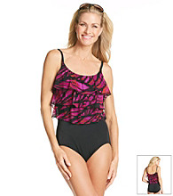 Studio Works® Mesh Triple Tier Mikado Butterfly Wing Print Tank Swimsuit