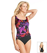 Studio Works® Flutter Print Sash Tank Swimsuit