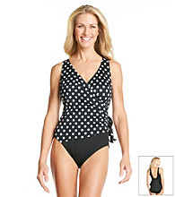 Studio Works® Polka Dot Side Tie Surplice Swimsuit