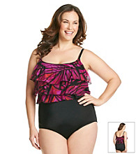 Studio Works® Plus Size Mesh Triple Tier Mikado Butterfly Wing Print Tank Swimsuit