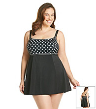 Studio Works® Plus Size Polka Dot Empire Swim Dress