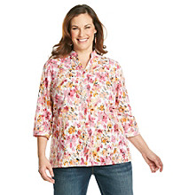 Breckenridge® Plus Size Printed Burnout Shirt