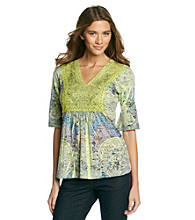 Oneworld Lace Print Top