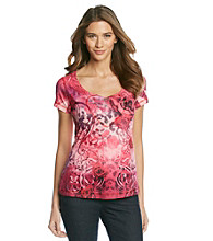 Oneworld Rose Printed Henley Top