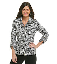 Laura Ashley® Black and White Animal Print Weekend Jacket