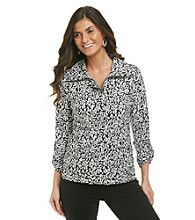 Laura Ashley® Petites' Black and White Animal Print Weekend Jacket