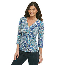 Laura Ashley® V-Neck Rose Burnout Top