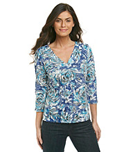 Laura Ashley® Petites' V-Neck Rose Burnout Top