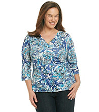 Laura Ashley® Plus Size V-Neck Rose Burnout Top