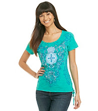 Laura Ashley® Medallion Scroll Print Tee with Lace Detail