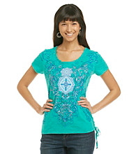 Laura Ashley® Petites' Medallion Scroll Print Tee with Lace-Up Detail