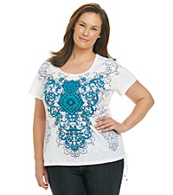 Laura Ashley® Plus Size Medallion Scroll Print Tee with Lace-Up Detail