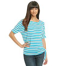 Laura Ashley® Striped Dolman Tee with Side Tie