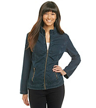 Laura Ashley® Plus Size Ruched Denim Jacket