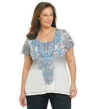 Oneworld® Plus Size Scoopneck Striped Dip Dye Henley