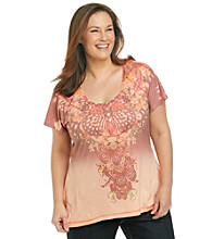 Oneworld® Plus Size Scoopneck Striped Dip-Dye Henley
