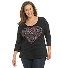 Oneworld® Plus Size Scoopneck Heart Henley