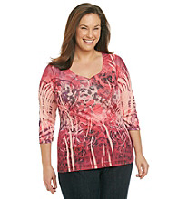 Oneworld® Plus Size Y-Neck Rose Print Henley