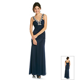 City Triangles® Juniors' Navy Embellished Gown