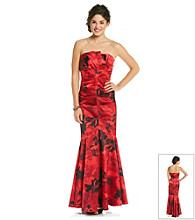 Jump® Juniors' Print Strapless Gown