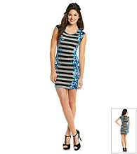 Be Bop Juniors' Black Stripe Mirror Print Dress