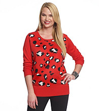Belle du Jour Juniors' Plus Size Red Cheetah Tunic
