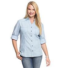 Belle du Jour Juniors' Plus Size Roll-Tab Shirt