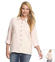Belle Du Jour Juniors' Plus Size Lace Back Shirt
