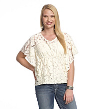 Belle du Jour Juniors' Plus Size Lace Tee