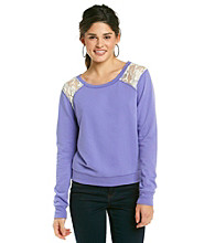 Grane Juniors' Fleece Pullover with Lace Inset