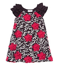 Rare Editions® Girls' 7-16 Black/Red Zebra Print Floral Soutache Dress