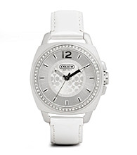 COACH WHITE BOYFRIEND STRAP WATCH