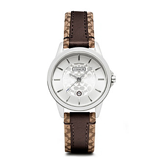 COACH BROWN CLASSIC SIGNATURE STRAP WATCH