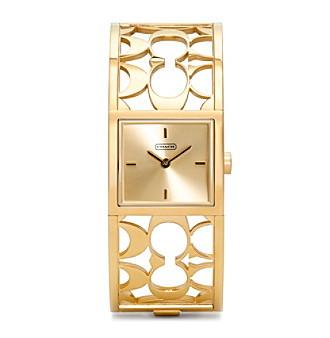 COACH GOLD PLATED MIRANDA BANGLE WATCH