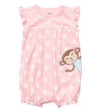 Carter's® Baby Girls' Pink/White Polka-Dot Monkey Creeper