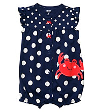 Carter's® Baby Girls' Navy/White Polka-Dot Crab Creeper