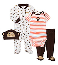 Carter's® Baby Boys' Brown/Orange 4-pc. Monkey Set