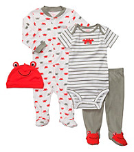 Carter's® Baby Boys' Red/Gray 4-pc. Crab Set