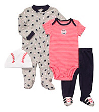 Carter's® Baby Boys' Grey/Red 4-pc. Baseball Set